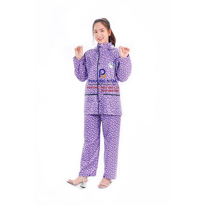 Bộ áo mưa Nam Nữ họa tiết bông sọc 01