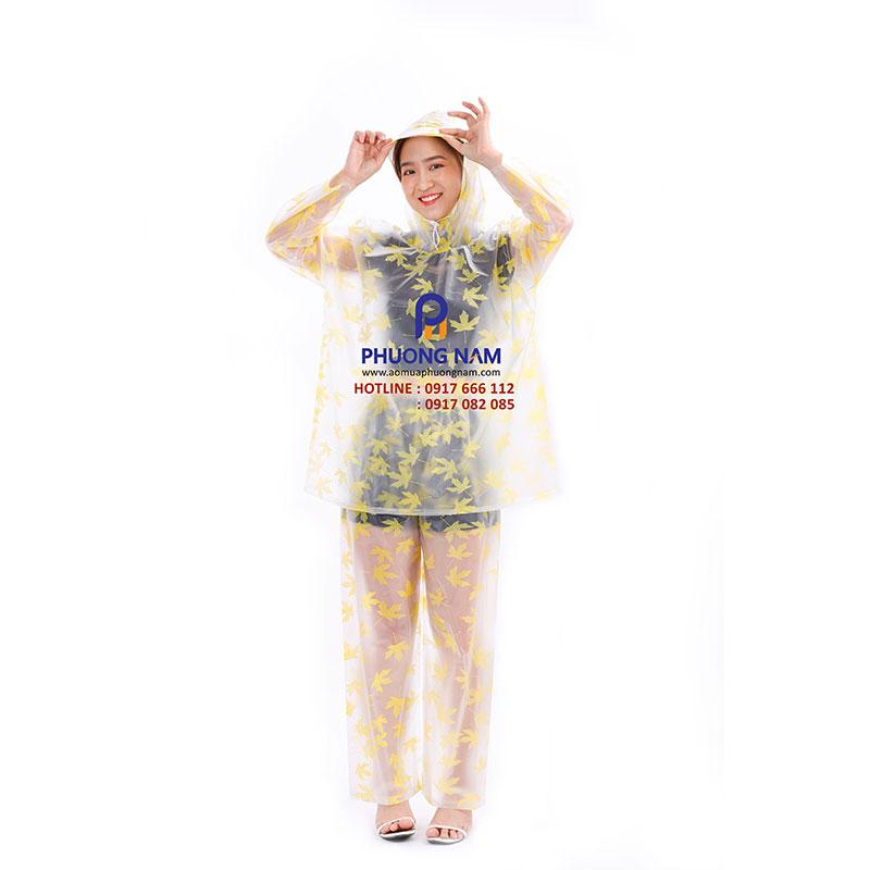 Bộ áo mưa PVC mờ họa tiết